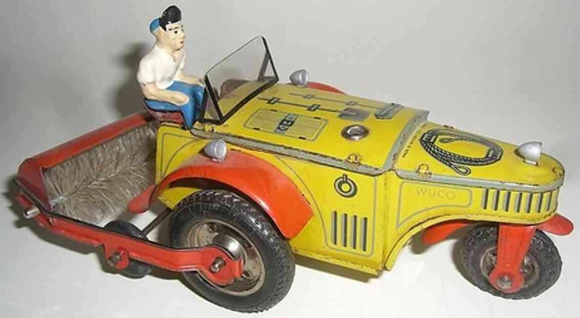 wuennerlein wueco blech spielzeug auto kehrmaschine uhrwerk gelb