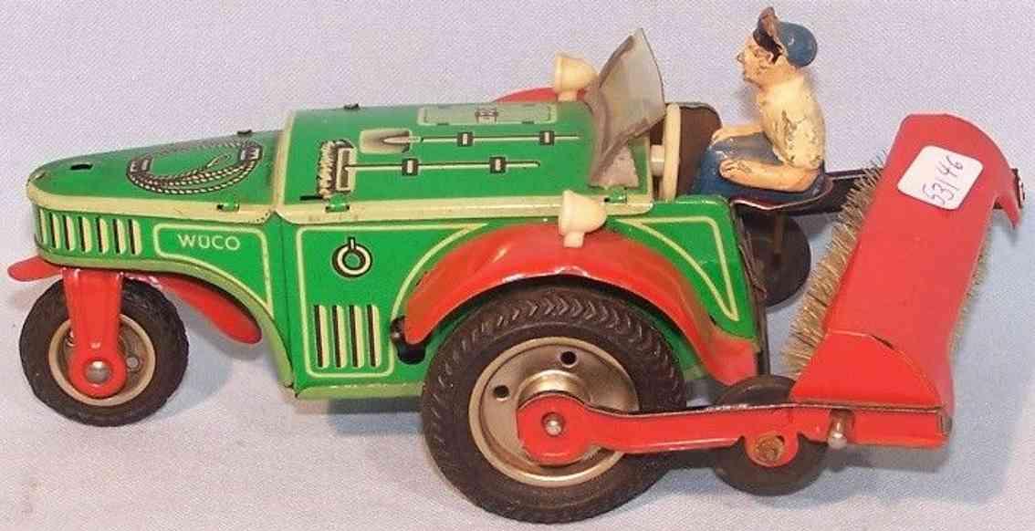 wunnerlein wuco tin toy car sweeping machine clockwork green
