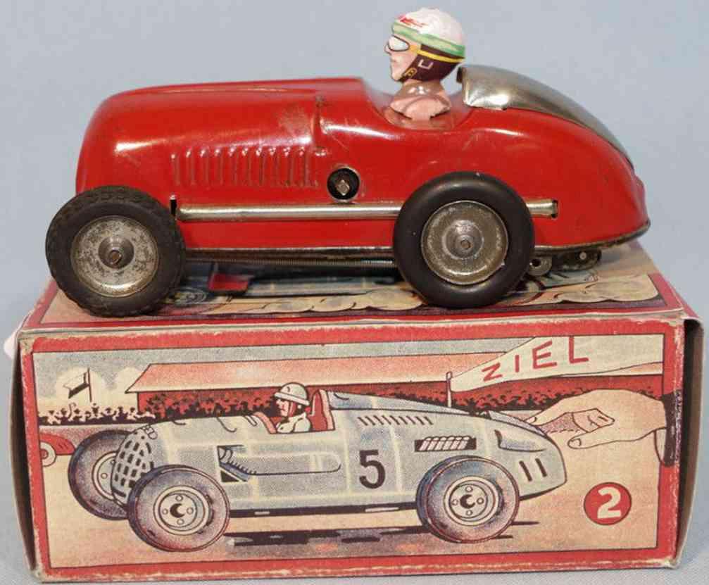 wuennerlein wueco rennwagen blech spielzeug rennauto rot