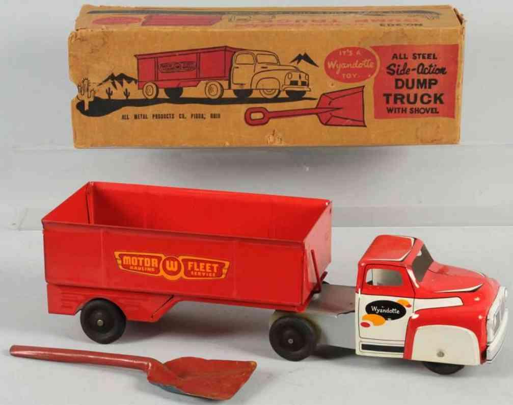 wyandotte 203 blech spielzeug lastwagen kipplastwagen aus stahlblech  in rot und weiß, der lastwagen