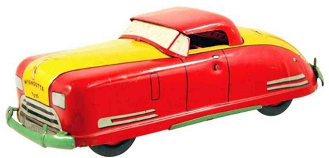 wyandotte 651 stahlblech spielzeug auto cabriolet uhrwerk rot gelb