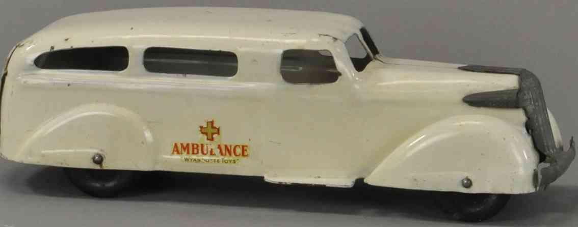 wyandotte blech spielzeug krankenwagen in weiss