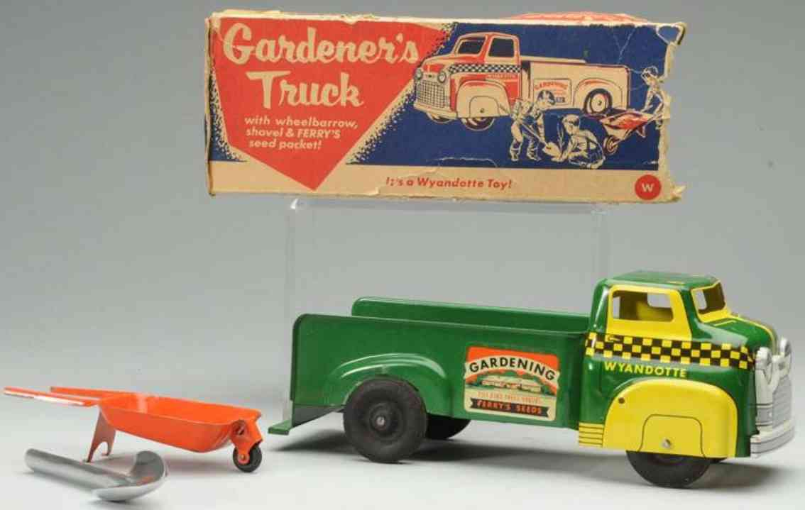wyandotte pressed steeln toy truck gardener's truck ferrys seeds wheelbarrow shovel