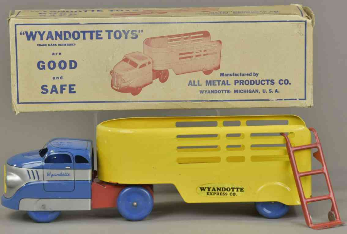 wyandotte blech spielzeug lastwagen mit auflieger blau silber gelb