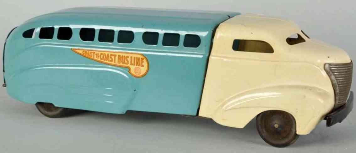 wyandotte pressed steel toy coast to coast bus blue white