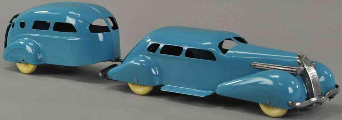 wyandotte blech spielzeug auto anhaenger blau
