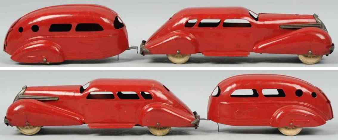 wyandotte pressed steel toy car zephyr with trailer red