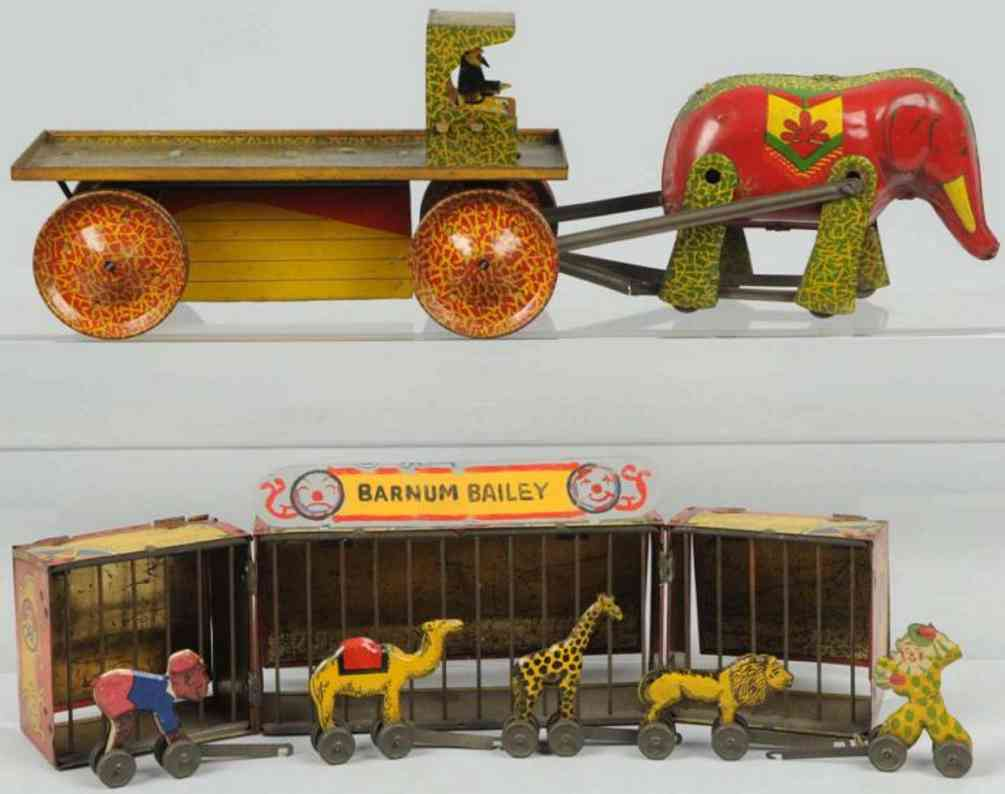 wyandotte tin toy circus truck with elephant