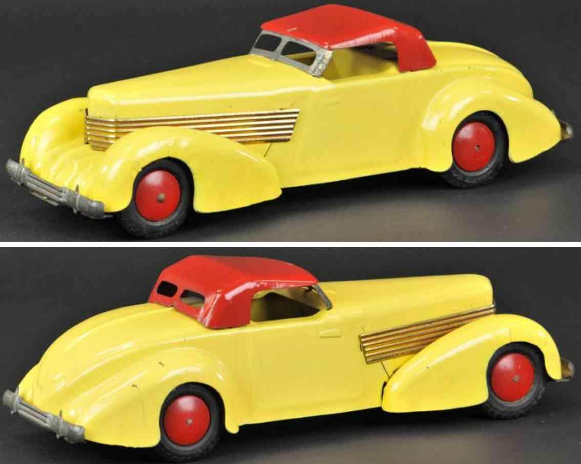 wyandotte stahlblech spielzeug auto coupe gelb rot