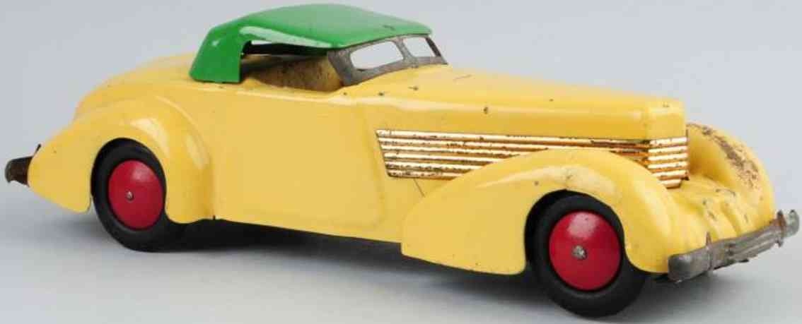 wyandotte pressed steel toy car cord coupe yellow green