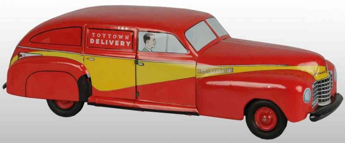 wyandotte pressed steel toy toytown delivery van red