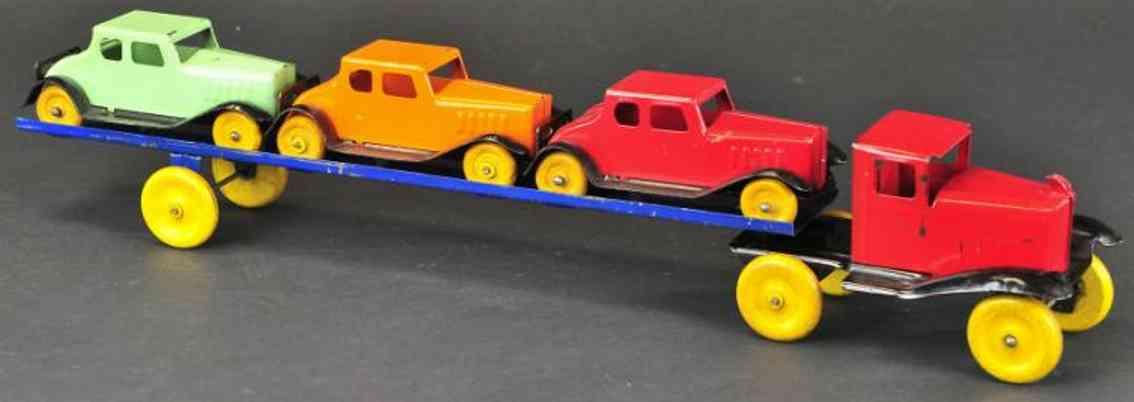Wyandotte Lastwagen Autotransporter aus Stahlblech mit drei Autos