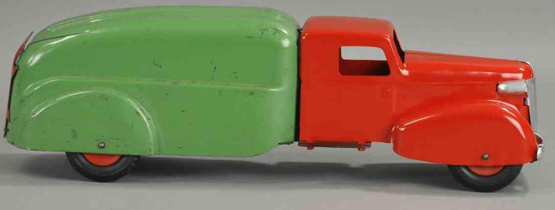 wyandotte blech spielzeug umzugswagen rot gruen