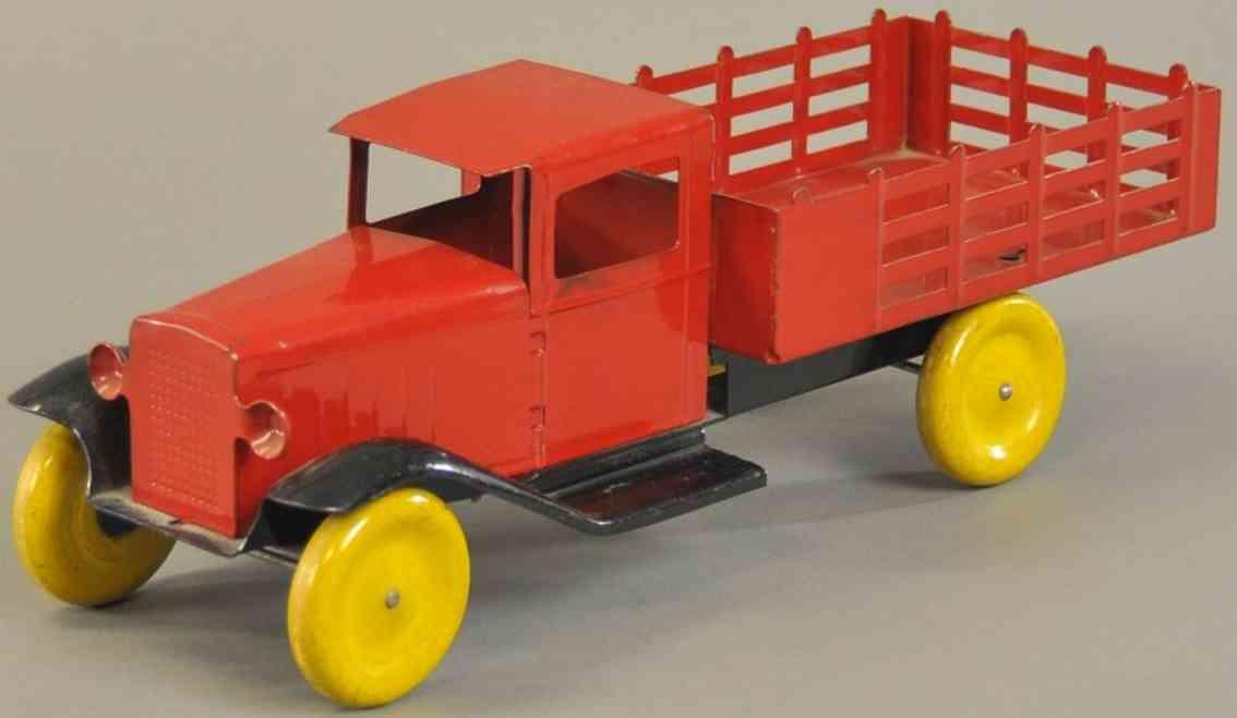 wyandotte stahlblech spielzeug lastwagen rot schwarz gelb
