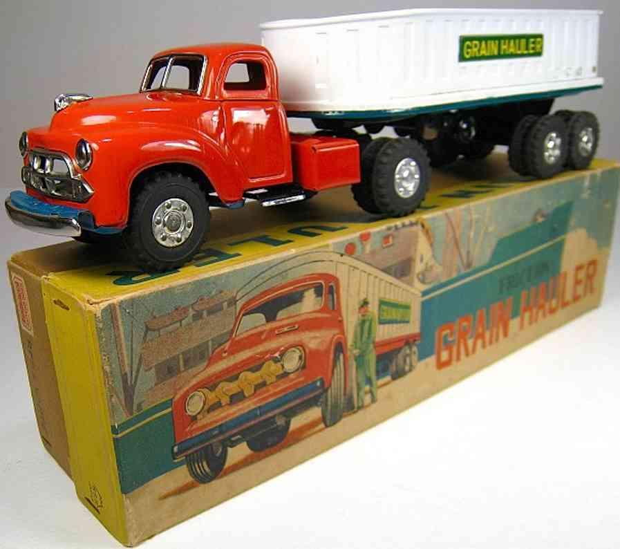 yamachi toys blech spielzeug lastwagen lastwagen in rot und weiß mit grünem untergestell, gummireif