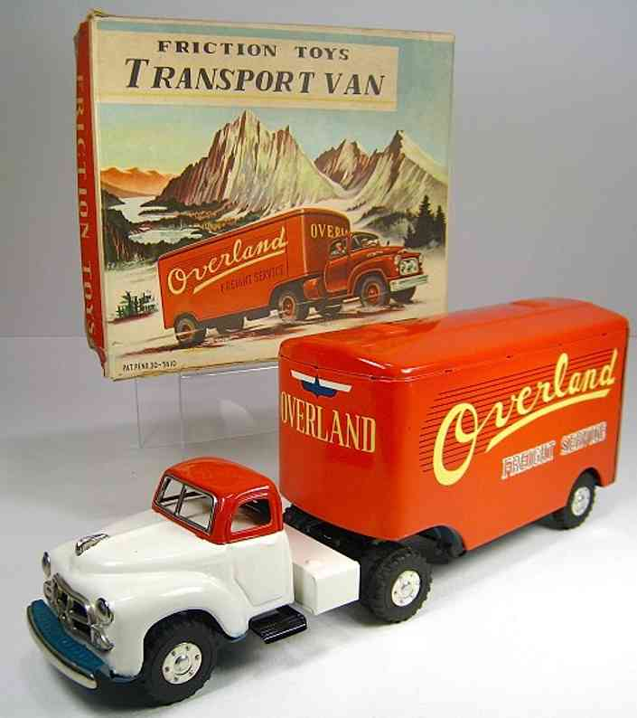 yamachi toys tin toy truck overland freight service truck and semi trailer fricition po