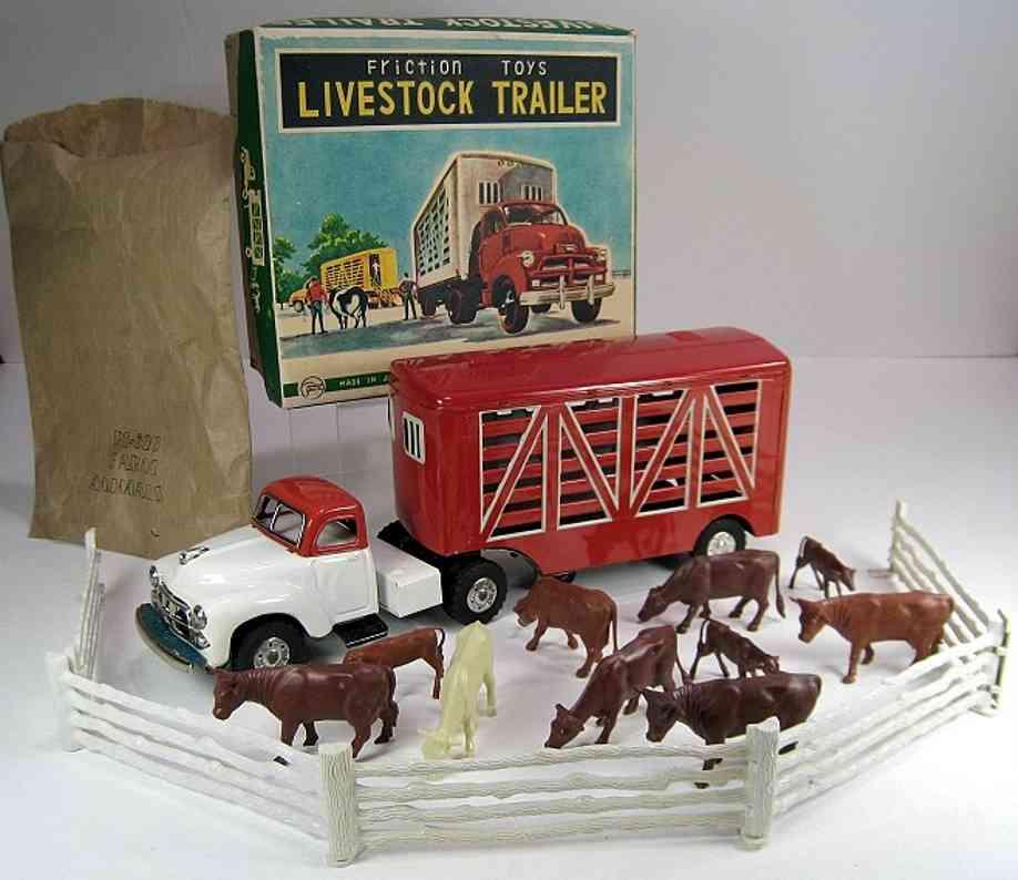 yamachi toys blech spielzeug lastwagen lastwagen in rot, weiß und grün  mit friktionsantrieb, bauer