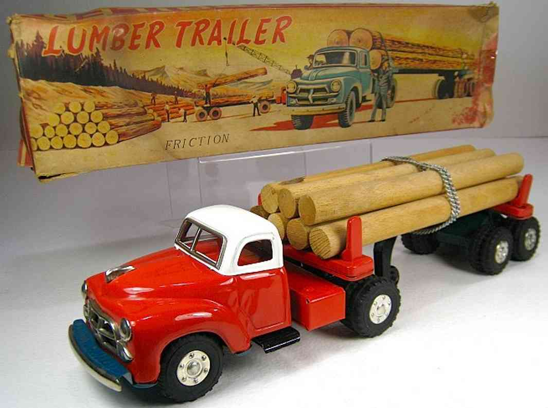 yamachi toys blech spielzeug lastwagen lastwagen in rot und weiß mit verchromten teilen für baumstä