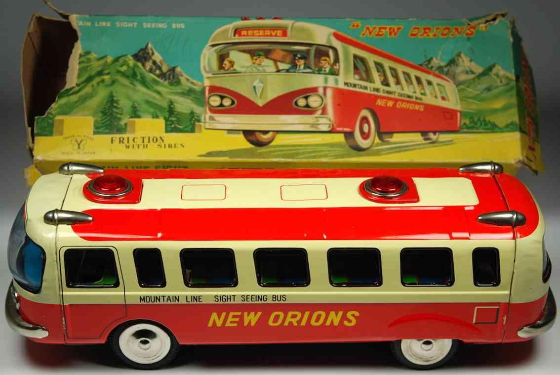 yonezawa 732 tin toy friction bus with siren