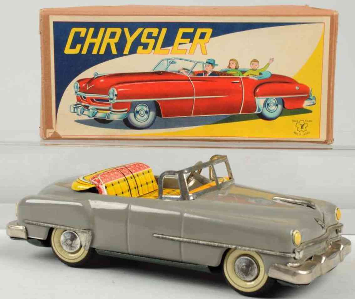 yonezawa tin toy chrysler car with friction drive gray
