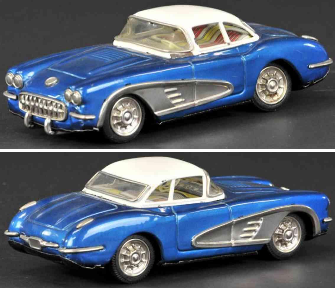 yonezawa blech spielzeug auto chevrolet corvette cabriolet blau