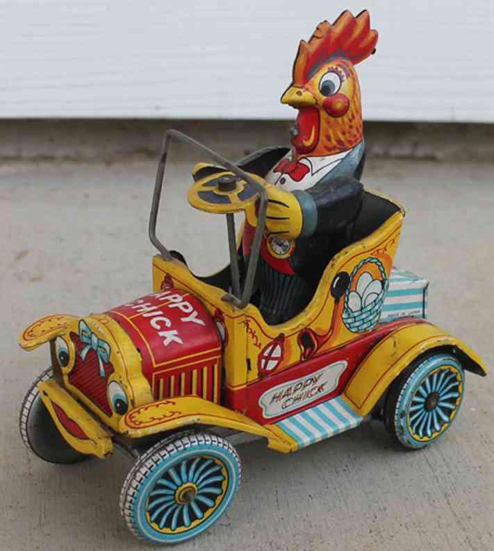 yonezawa blech spielzeug auto küken im auto mit friktionsantrieb; aufgezogen bewegt sich d