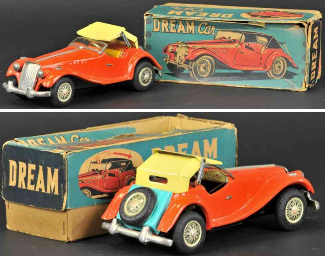 yonezawa tin toy car mg midget two-door convertible car orange yellow