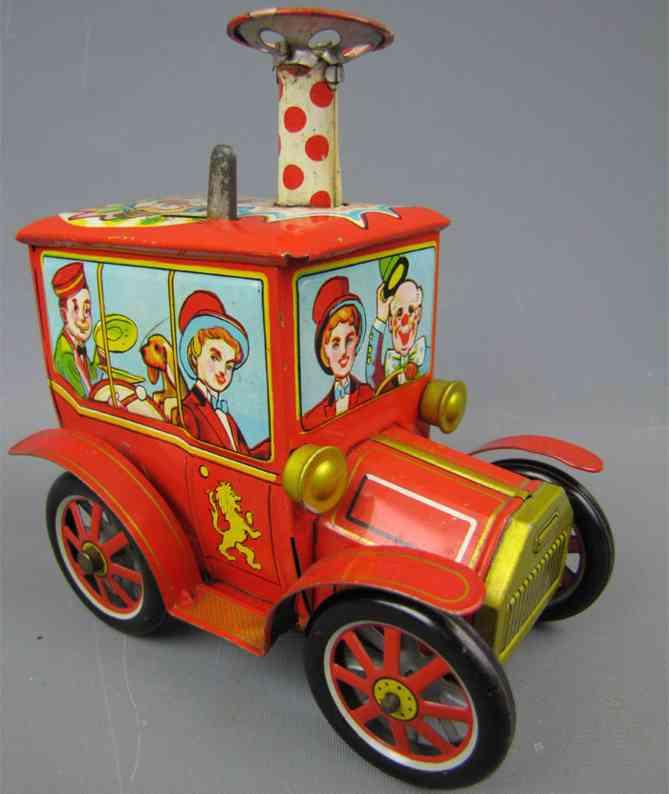 yoshiya lithographed tin windup toy circus car