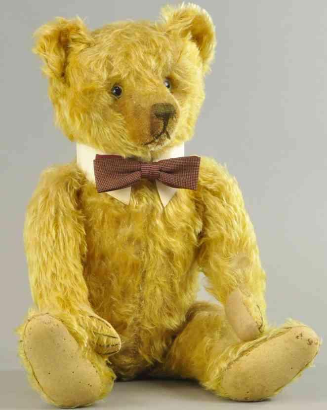 bing  teddybaer glasaugen genaehte nase gold mohair
