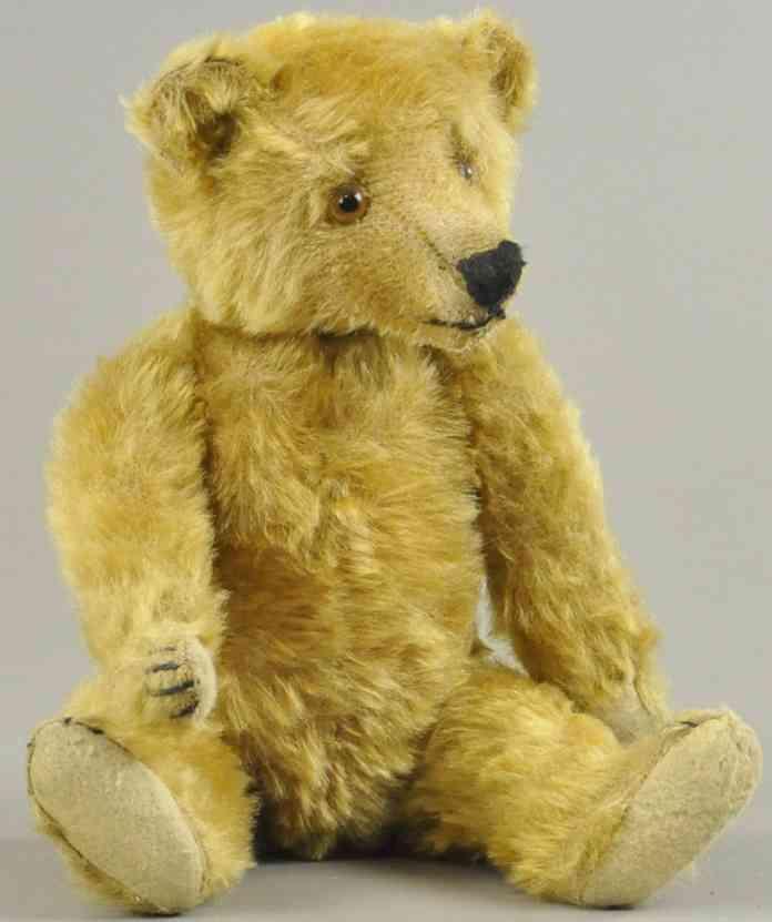 bing tip toe teddybaer genaehte nase glasaugen gold mohair