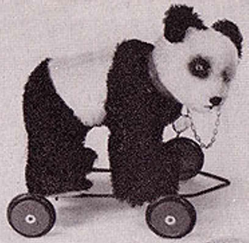 hermann 302/20F panda-baer fahrgestell mohairplüsch