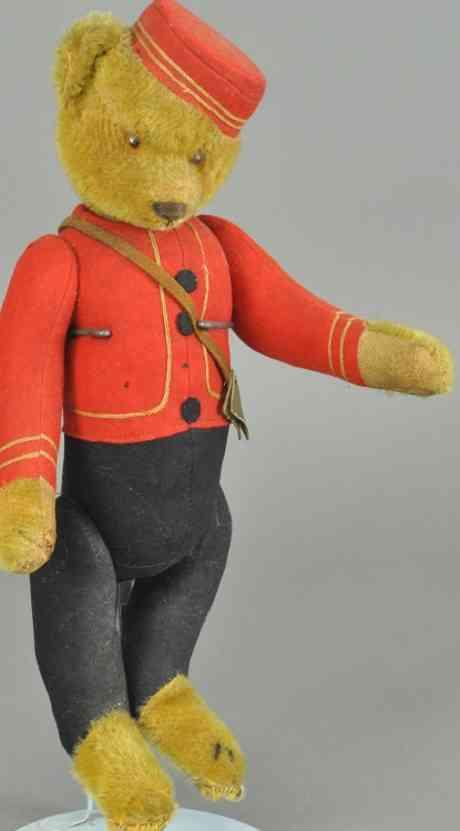 schuco 7/40 goldfarbener teddy baer bell hop  patentkopfbewegung