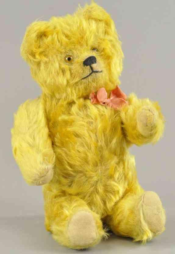 schuco baer ja/nein teddyaer langes goldfarbenes mohair glasaugen