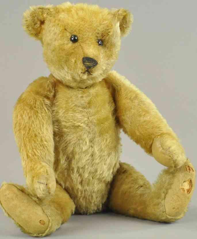 steiff teddybaer goldfarbenes mohair blanker knopf schuknopf-augen