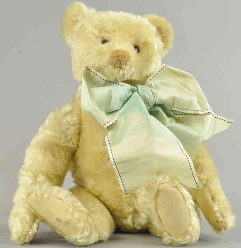 steiff weisser teddybaer schuhknopfaugen cremefarbene genaehte nase