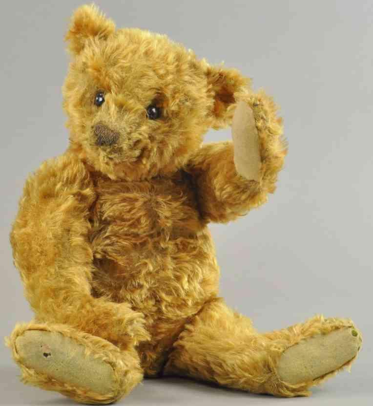steiff zimtfarbener teddybaer langem mohair plueschpelz blanker knopf