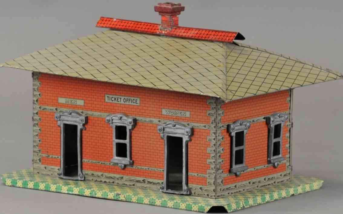 ammr american miniature railroads  toy station tin ticket office toilet