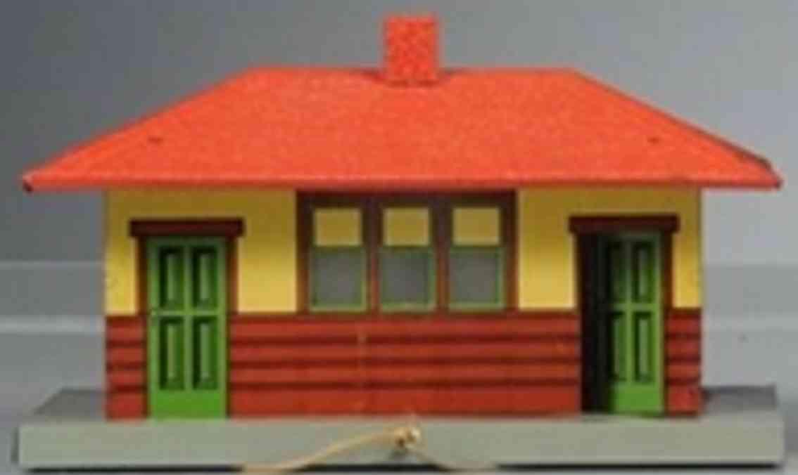 american flyer toy company 104 spielzeug eisenbahn bahnof #104 mit zwei lampen außen, sockel in grau, dach in o