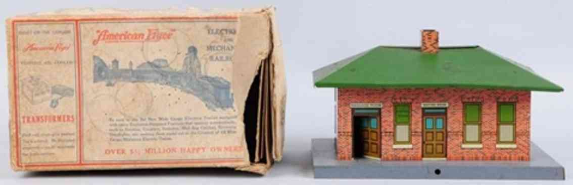 american flyer toy company 96 railway station tin green