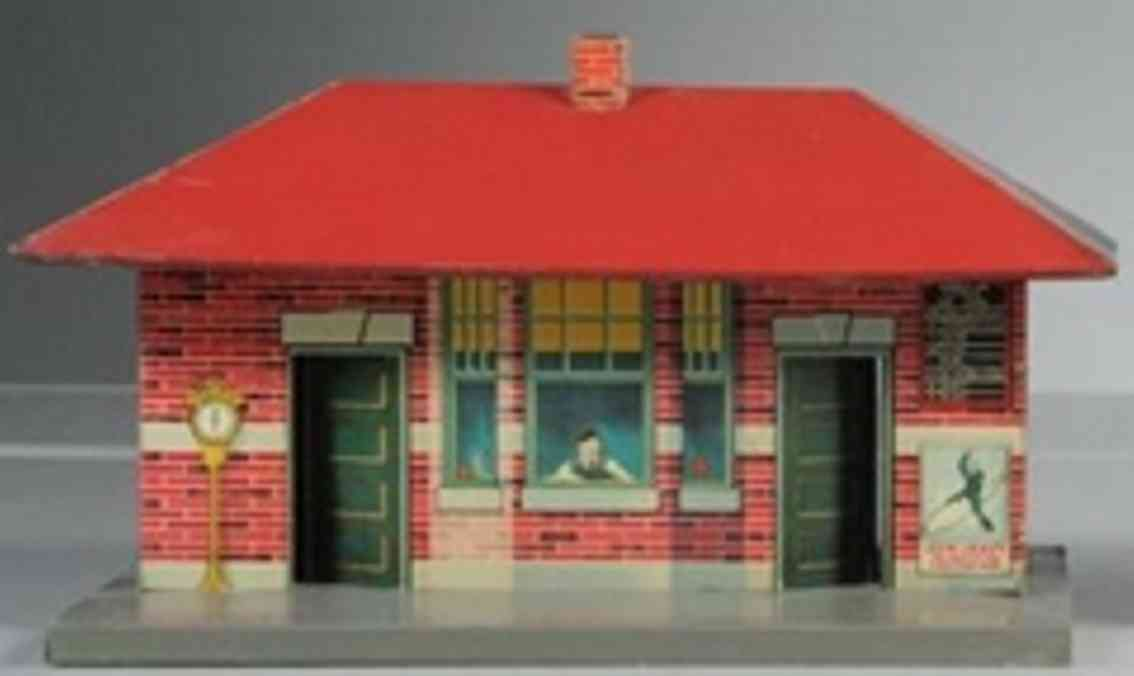 american flyer toy company railway station tin maroon