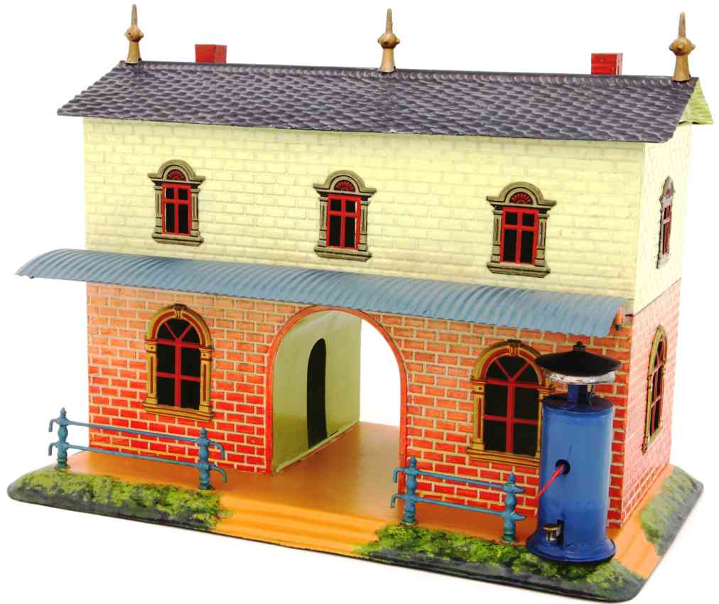 bing 7228 toy hand-coated railway station with embossed masonry
