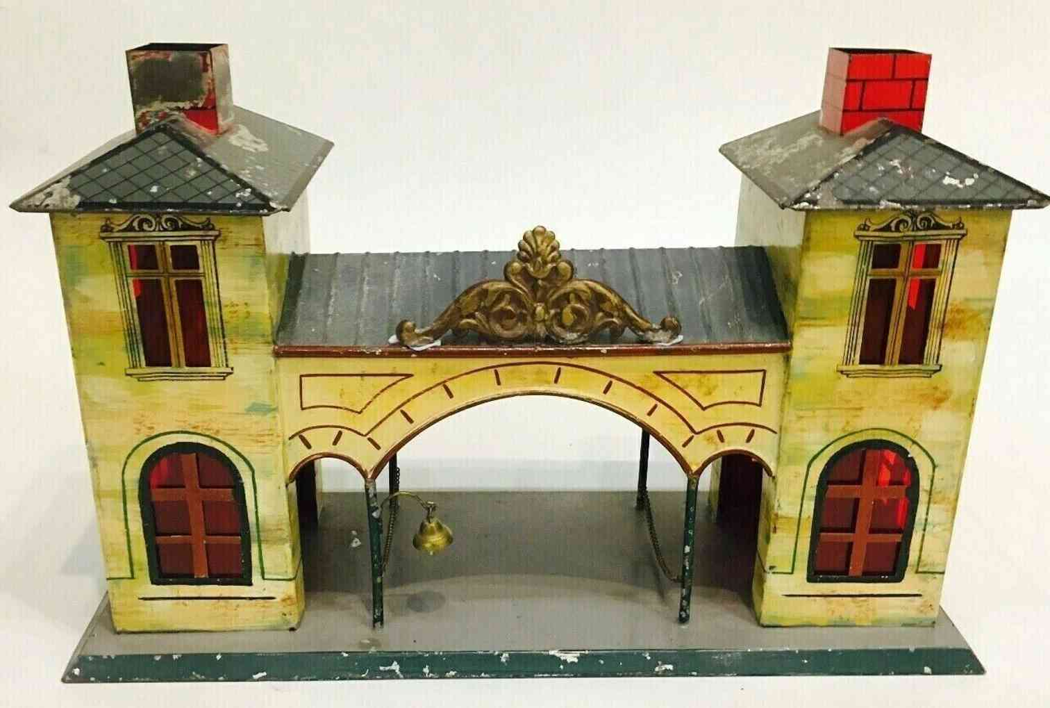 bing 8342/1 toy railway station two side buildings middle passage