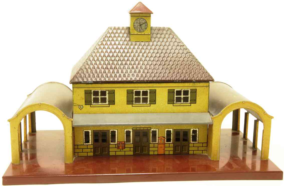karl bub 861 toy railway station in yellow green red yellow tower