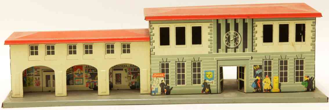 karl bub railway toy station with annex red flat roof