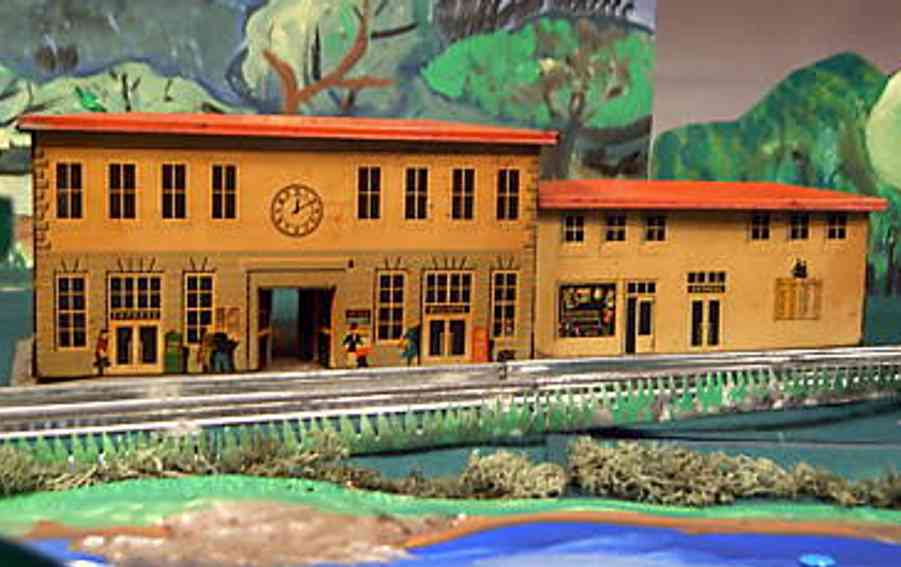 bub toy railway station with arcade building