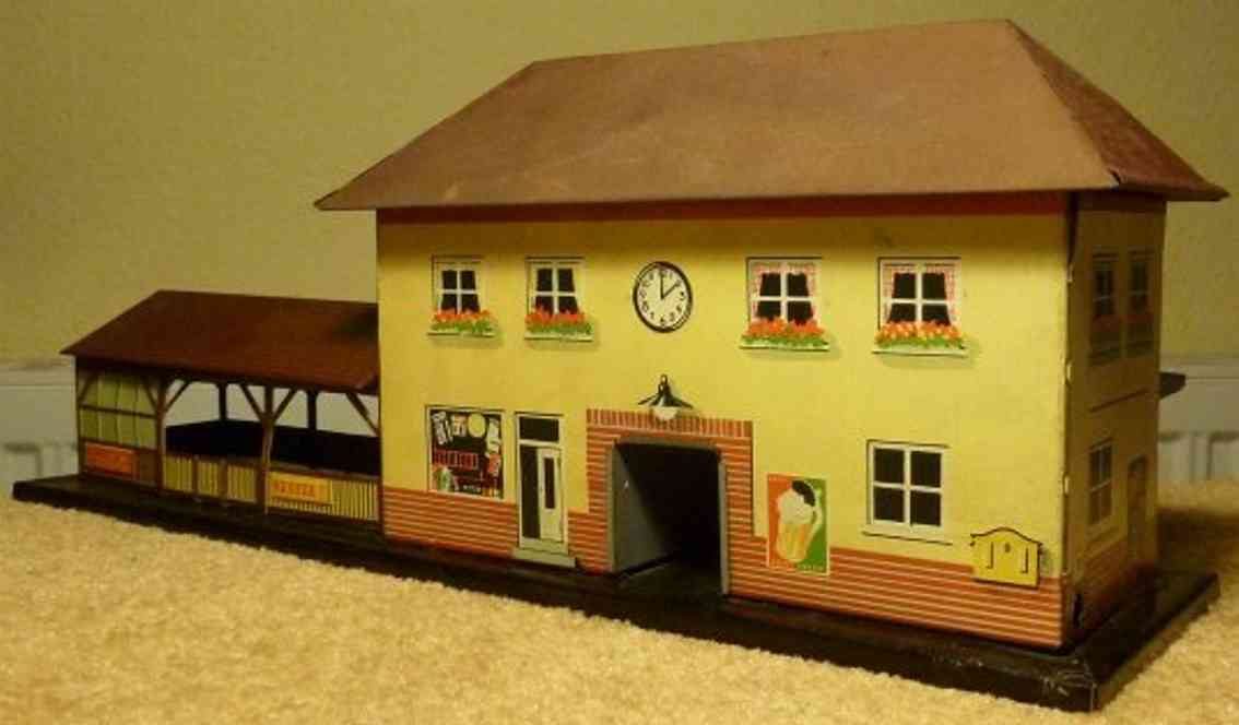 bub toy railway station with party hut and light