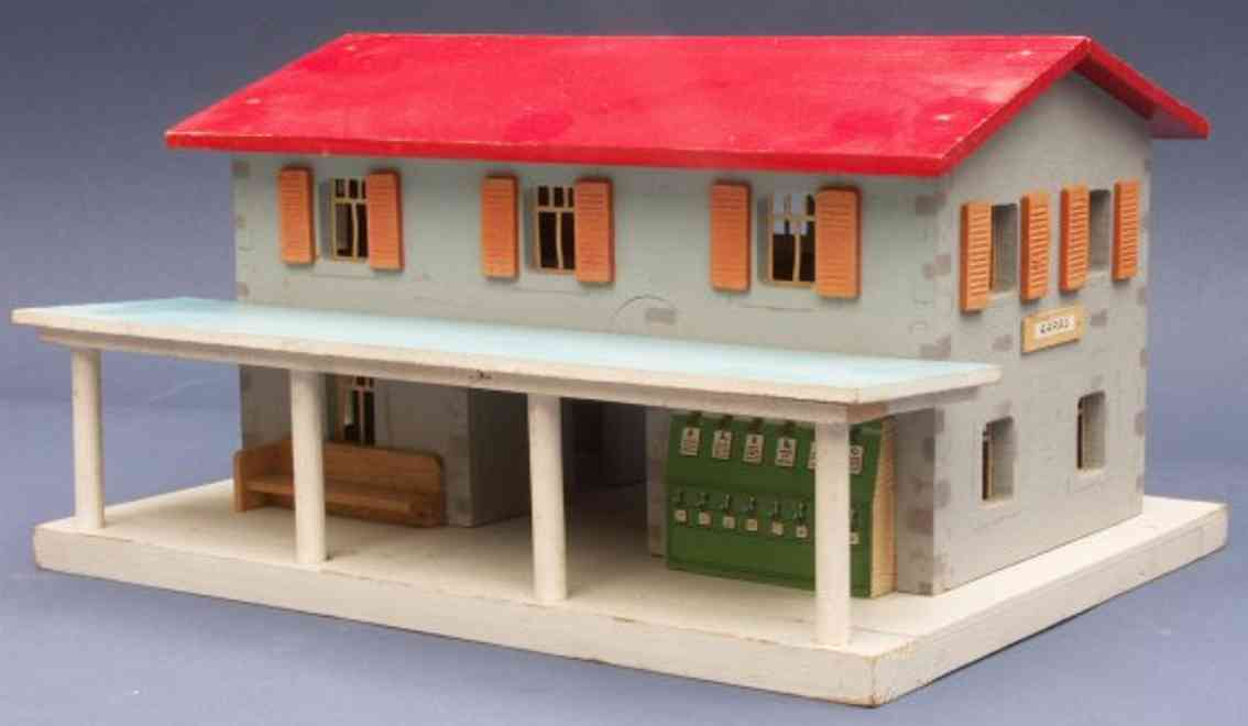 buco bucherer 8581 toy railway station building of a middle station of wood in gray