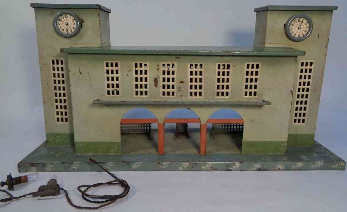cabo railway toy station with two towers and imitated clocks