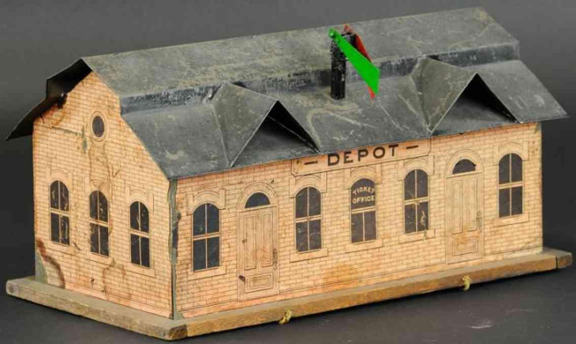 carlisle & finch tin toy depot station wood frame