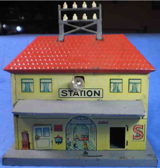 distler 103/7 toy railway station made lithographed tin